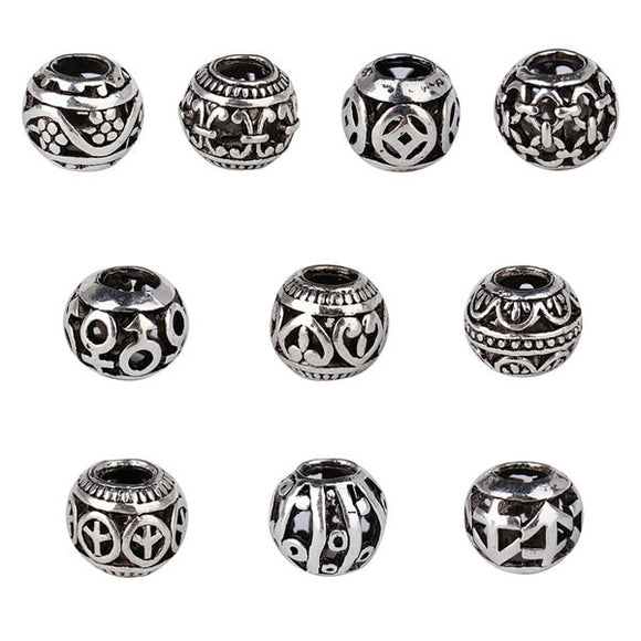 10Pcs/Lot Dia 5mm Mixed Round European Charms Zinc Alloy Antique Silver Beads Spacer DIY Bracelets Findings For Jewelry F1110D