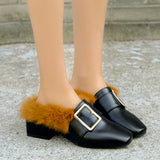 Womens Woolen Shoes Slippers Shoes Shoes High Block Heel Boots Shoes