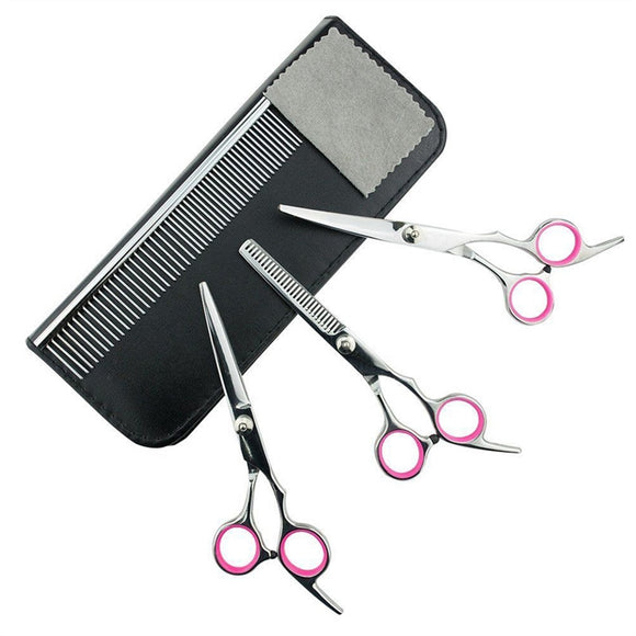 4pcs Dog Scissors 7.5 inch Pet Hair Grooming Scissors Set Includes Round Tip Top Thinning Shear Straight-Edge Shear and Curved Shears with Grooming Comb and Clean Cloth for Dogs and Cats