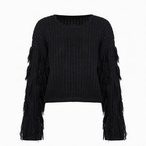 Conmoto Oversize Knitted Women Sweaters Harajuku Pullover 2018 Autumn Winter Sweater Mujer Invierno Tassel Solid Jumpers