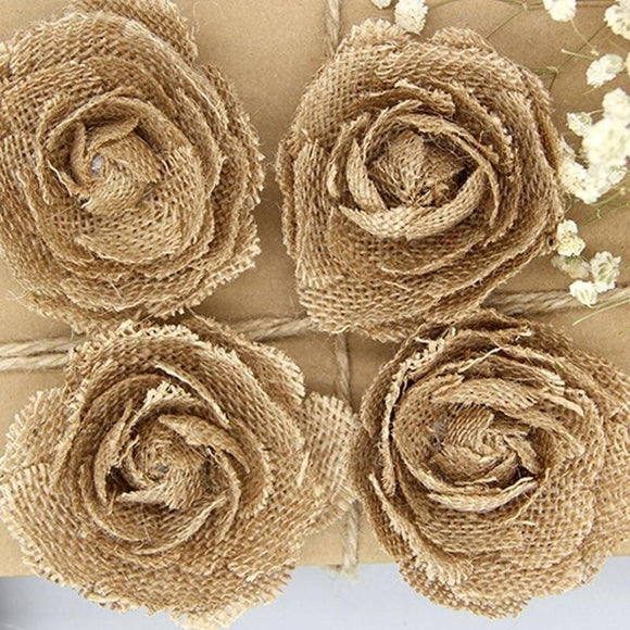 Handmade Hessian Burlap Linen Fabric Rose Flower Chic Wedding Party Decor