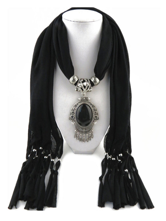 Women's Pendant Decoration Necklace Bohemian Tassels Scarf Shawl Wrap