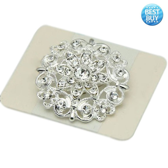 Best Wedding Bridal Silver Rhinestone Crystal Pearl Brooches Brooch Bouquet Pin Party