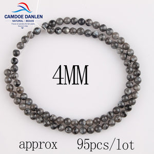 New Natural Stone Black Spectrolite Round Beads 4/6/8/10/12MM Labradorite Stone DIY Bracelet Necklace Handmad For Jewelry Making