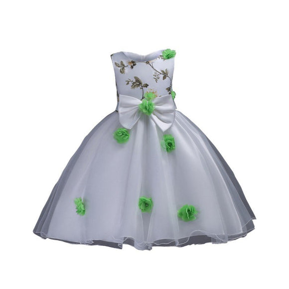 Dress Children's Embroidery Flower Sleeveless Princess Dress For Girl 5 Colors Ball Gown Wedding Dress