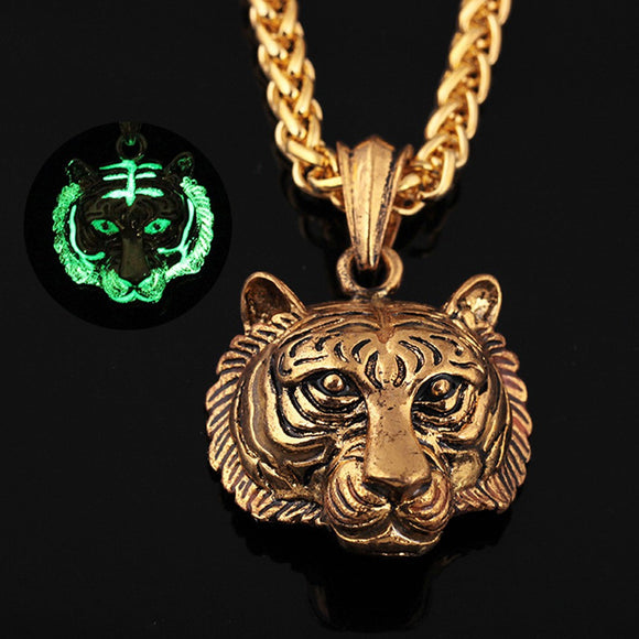 Men Luminous Tiger Head Pendant Necklace Chain Hip Hop