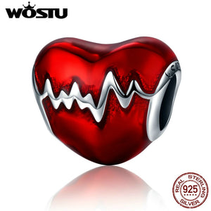 WOSTU Hot Sale 925 Sterling Silver Heartbeat Beads Fit Original WST Charm Bracelet DIY Jewelry Gift CQC249