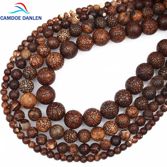 CAMDOE DANLEN New Natural Stone Beads Fossils Stone 4 6 8 10 MM Loose Round Diy Charm Beads For Jewelry Making Accessories