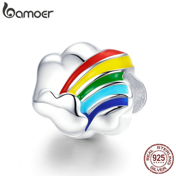 BAMOER Fashion New 925 Sterling Silver Colorful Rainbow Shape Beads Charm fit Charm Bracelet Necklace Jewelry Making SCC945