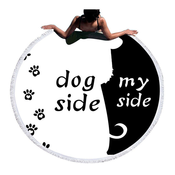 BeddingOutlet Cartoon Large Beach Towel Microfiber Dog Side and My Side Bath Towel Pet Footprint Round Mat Black White Tapestry