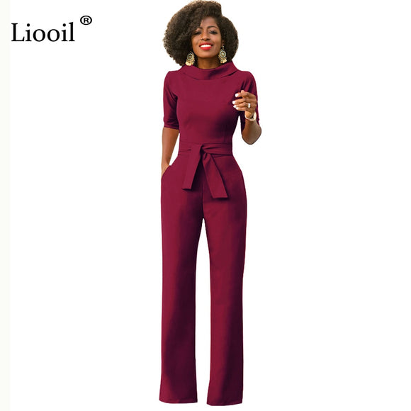 Liooil Black White Blue Rompers Womens Jumpsuit Half Sleeve Turn-Down Collar Sashes Wide Leg Pant African Office Ladies Overalls