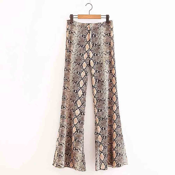 FIRSTTO Vintage Tribal African Snake Pattern Flare Pants Slim High Waist Full Length Trousers Casual Pockets Bottom Hippie Pants