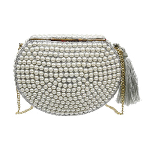 Brass Metal Hard Case Clutch with Pearl Beading, Glitter, and Tassel