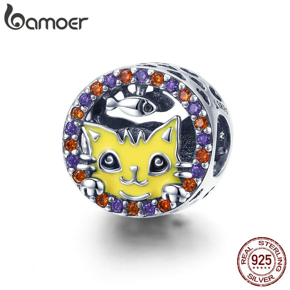 BAMOER Real 100% 925 Sterling Silver Greedy Cat Pussy Head Colorful CZ Beads Charm fit Women Bracelet DIY Jewelry Making SCC956