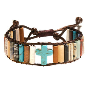 Simple Fashion Christian Cross Bracelet Bead Leather Weave Bracelet Hand Strap for Women Girls (18ky0924)