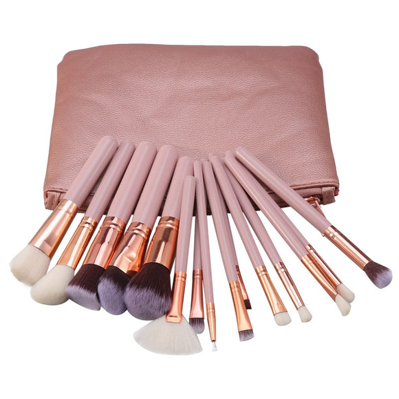 15pcs Wooden Handle Makeup Brush Cosmetics Powder Blush Brush Kit with Storage Bag for Woman Ladies