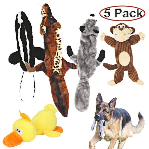 5pcs/set Pet Cat Chew Squeaker Toy for Dog Cat Plush Animal Interactive Sound Toys Dog Chew Toys Dogs Pet Toys
