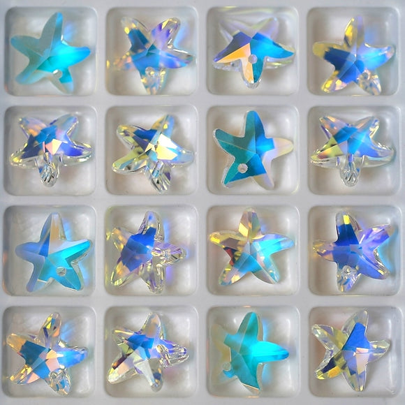 14mm 28pcs/pack crystal beads charms starfish crystal AB glass beads rhinestone gem for Jewelry making Earring DIY Best quality