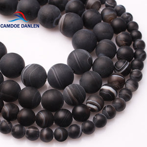 CAMDOE DANLEN Natural Stripe Frost Black Agates Stone Round Beads 6 8 10 12 MM Onyx Beads Fit Diy For Jewelry Making Accessory