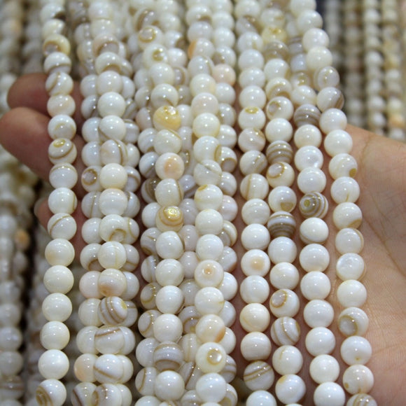 N Natural Stripes Chinese Shell Beads For Jewelry Making DIY Charm Bracelet Necklace stone 4/5/6/7/8mm Strand 15.5' Wholesale