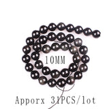 Top quality Obsidian Natural Stone Black Round Loose beads ball 4/6/8/10/12MM Handmade DIY Beads Jewelry bracelet Making