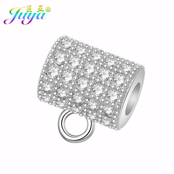Ali Moda DIY Beads Jewelry Findings Supplies Big Hole Metal Beads Round Hole Bail Beads Suspension Charm Beads Accessories