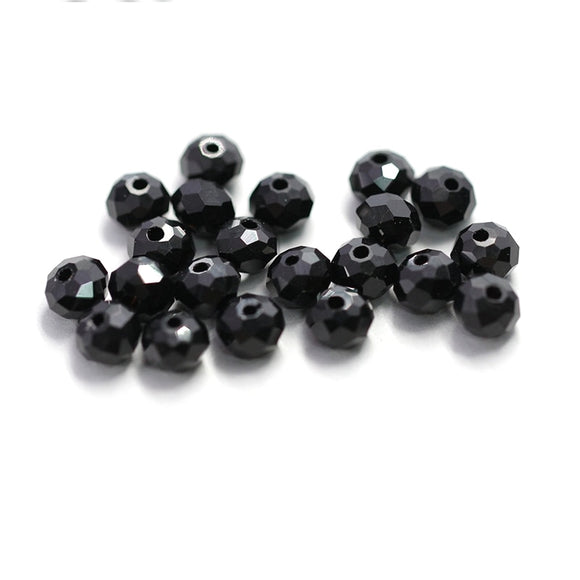 Hot sale 4-8mm black faceted glass round beads Rondelle Austria crystal beads for bracelet necklace making DIY Jewelry findings