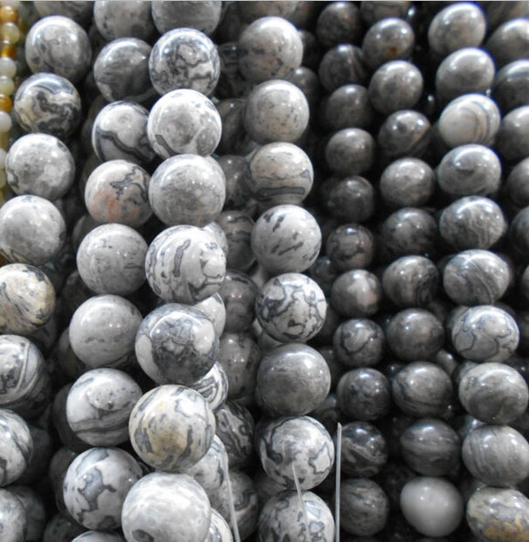 Round Shape Map Stone Gray Natural Stone Beads   4/6/8/10/ 12 mm Strand 16''