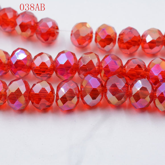 wholesale 50pc lot A string 6mm white ,Red AB ,pink AB Faceted glass Crystal Beads 10 color pick