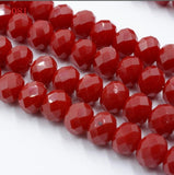 FLTMRH yellow Color 70pcs 8mm Rondelle Faceted Crystal jewelry Porcelain Glass Loose Spacer Beads Deep red jewelry