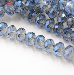 FLTMRH   Fashion Colors Rondelle Faceted Crystal Glass Loose Spacer Beads  8mm