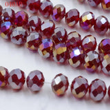 White AB  8mm 70pcs Rondelle Austria faceted Crystal Glass Bead Loose Spacer Round Bead for Jewelry Making
