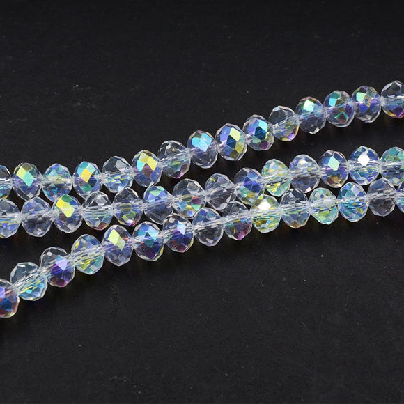 Wholesale Faceted AB Clear Glass Crystal Rondelle Spacer Beads 4 6 8 10 12  mm Pick Siz For Jewelry Making