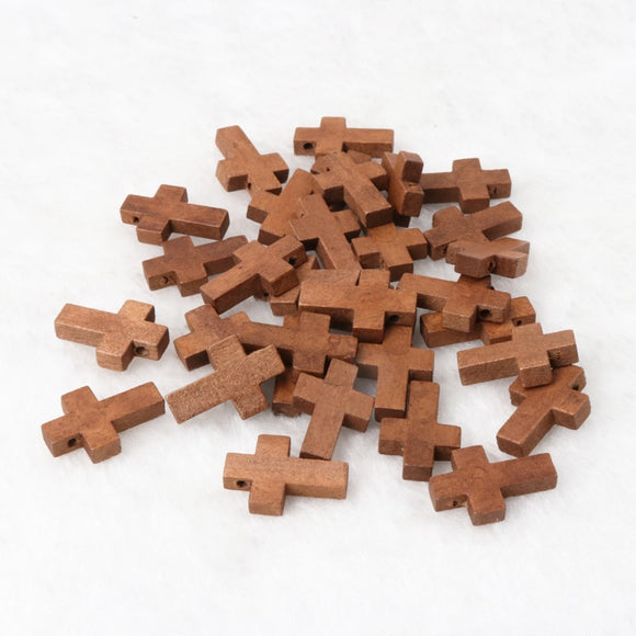 Natural Wooden Faceted Wooden Cross Geometric Spacer beads For Jewelry making Handmake DIY Accessory 23x15mm 50pcs KL82
