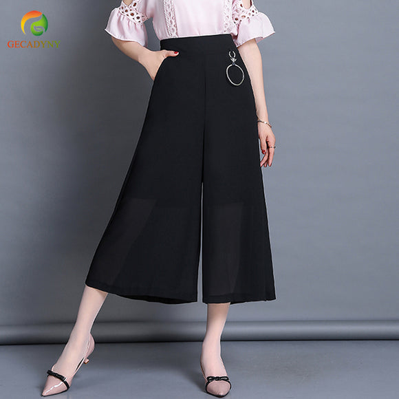 2018 Women Chiffon High Waist Wide Leg Pants Sweet Beautiful Pendant Elastic Waist Loose Ankle-Length Pants Trousers Pantalones