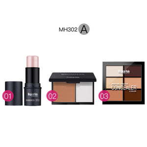 Magical Halo Makeup Set Shimmer Stick + Double Color Stereo Bronzing Powder 6 Concealer Free Shipping