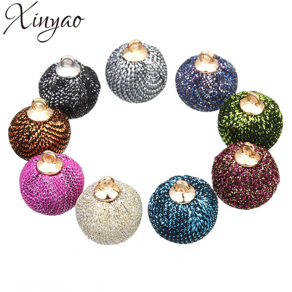 XINYAO 24pcs 15mm Fabric Ball Beads Charms Fit Earring Necklace Bracelet Pompon Ball Pendant For DIY Jewelry Making Findings