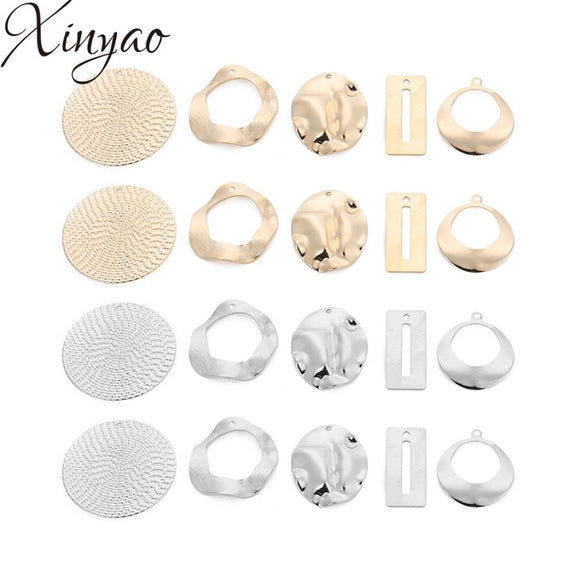 XINYAO 10pcs/lot 5 Style Retro Copper Earring Connector Charms Pattern Hollow Pendent Diy Jewelry Findings Make DIY Accessories