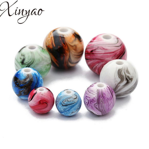 XINYAO 2018 100pcs 8/10/12mm Colorful Round Resin Beads Fit Bracelet Necklace Findings Loose Spacer Beads For Diy Jewelry Making