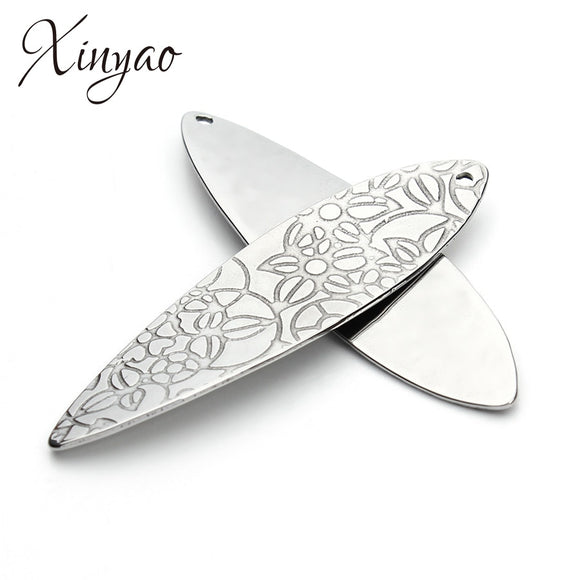 XINYAO 10Pcs/lot 17x37mm Stainless Steel Oval Pendant Carved Flower Connector Pendants For Diy Jewelry Findings F3416