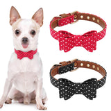 Cute Puppy Dog Cat Collar Leather Bowknot Pet Dog Collar Adjustable Puppy Collars For Small Medium Dogs Chihuahua Yorkie