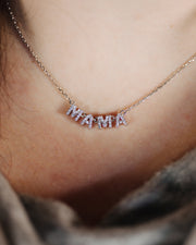 MAMA Block Necklace - Sterling Silver
