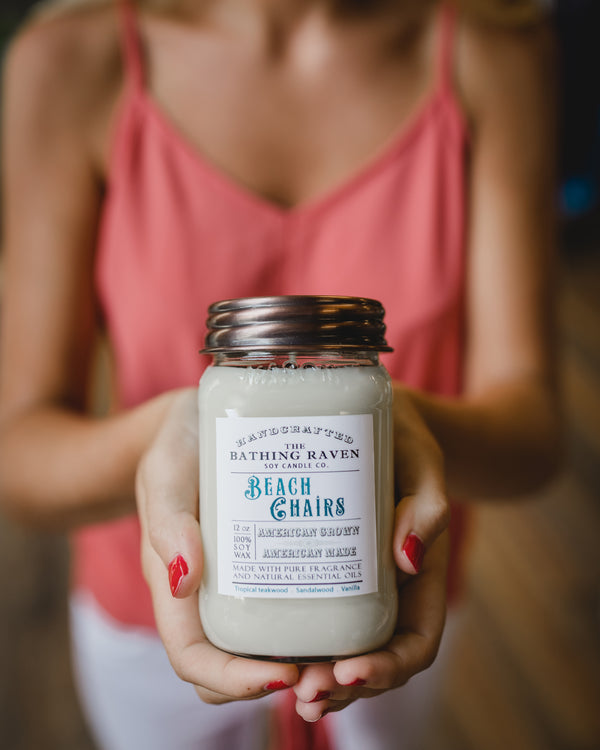 Beach Chairs 12oz. Mason Jar Soy Candle