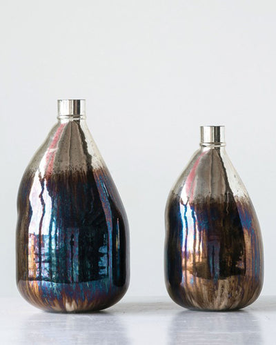 Glass Balloon Vase With Iridescent Finish