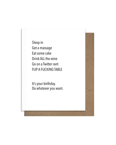 Flip Table Letterpress Card