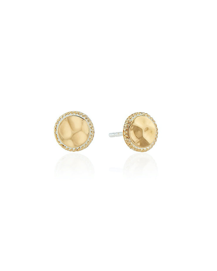 Gold Hammered Stud Earrings by Anna Beck