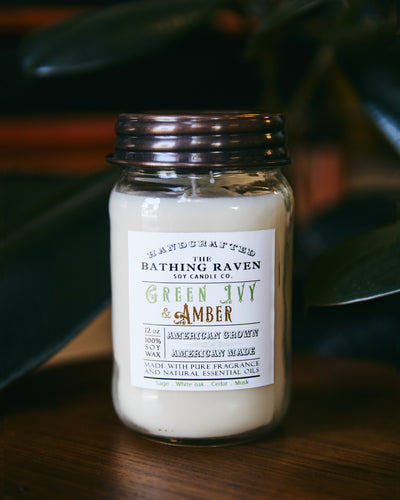 Green Ivy & Amber 12oz. Mason Jar Soy Candle