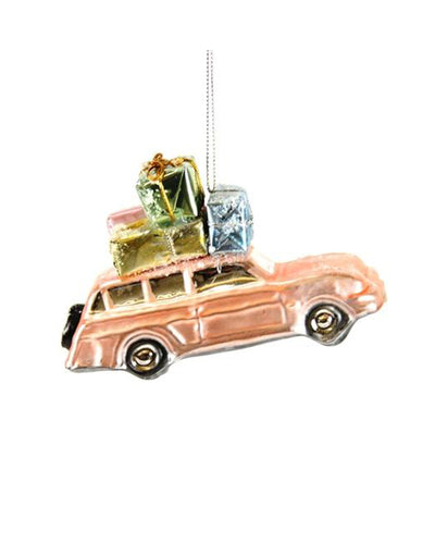 Blush Pink Holiday Packages Car Glass Blown Ornament