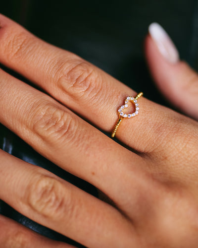 Open Heart CZ Ring - Gold Plated