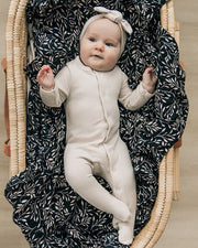 Black Vines Muslin Swaddle Blanket